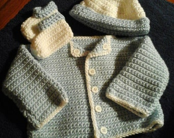 Crochet Blue and white sweater set