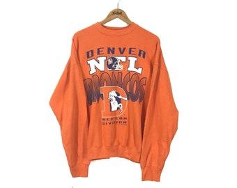 NFL Denver Broncos 1992s Big Design Print Vintage Pullover Jumper Sweater  Sweatshirt d1e5ea32e