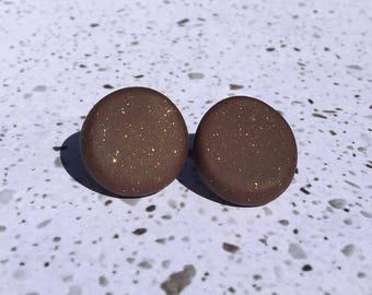 Dark Brown Glitter Studs