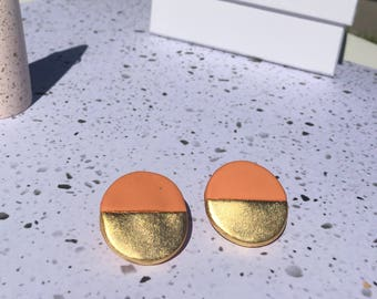 Orange and Gold Polymer Clay Earrings