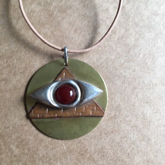 Eye of Providence Pendant Necklace Eye in pyramid symbol jewellery in brass copper Illuminati Jewellery and sterling silver