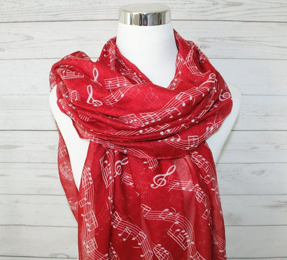 Musical Note Print Scarf