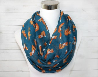 Fox Print Scarf, Teal Fox Scarf, Animal Print Scarf, Infinity Loop Scarf, Womens Scarf, Gift for Her