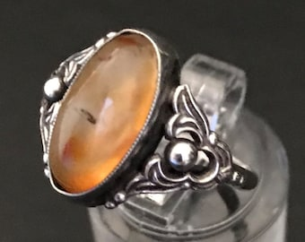Antique Silver and Moss Agate Ring