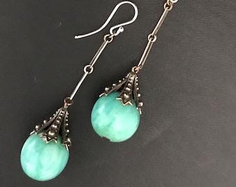 Art Deco Silver & Peking Glass Earrings