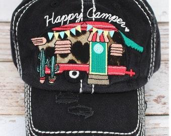 65188fc70b6 Distressed Black leopard Happy Camper Hat