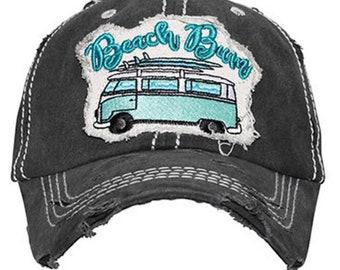 ce14da072c6d31 Distressed Black Beach bum baseball cap