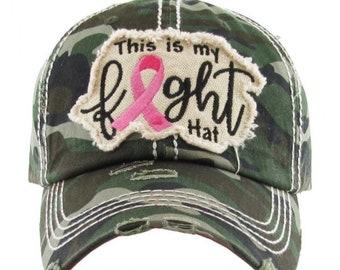 45afc04ef54 Distressed Pink Ribbon Cap