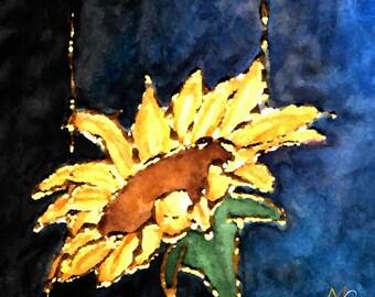 Golden Drips - Watercolor Print