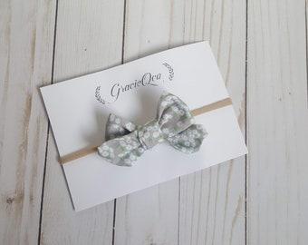 grey bow, mini pinwheel bow, baby bows, baby headbands, baby girl, baby stuff, handmade item, floral bows, newborn , summer bows, hair bow,