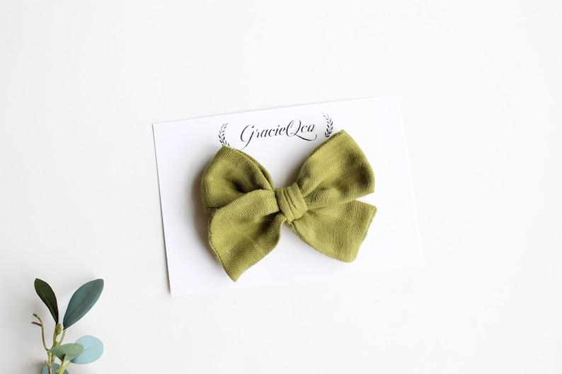 cotton bow cotton Gauze bow toddler hair clip summer bow newborn green large bow olive green,cotton pinwheel bow headband