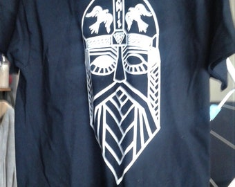 Odin Screen-printed Tee with Ravens and Norse Runes