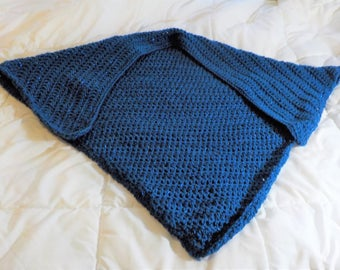 Royal Blue glimmer crochet evening shawl