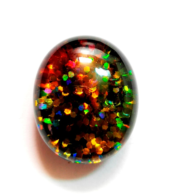 Rare 50 Cts Amazing Black Doublet Multi Fire Opal Oval Cabochon Loose Gemstone