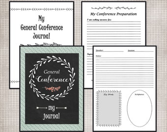 General Conference Journal, General Conference Packet, LDS Conference Packet, LDS Conference Journal, LDS Printables, Planner Page