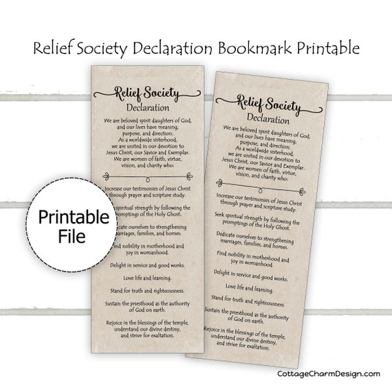 image relating to Relief Society Declaration Printable named Reduction Tradition Declaration Bookmark Printable, Church of Jesus Christ