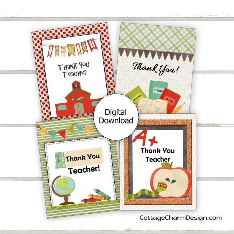 picture about Printable Teacher Thank You Cards identified as Trainer Thank By yourself Card Printable, Instructor Reward Tag Printable, Trainer Appreciation, Prompt Down load