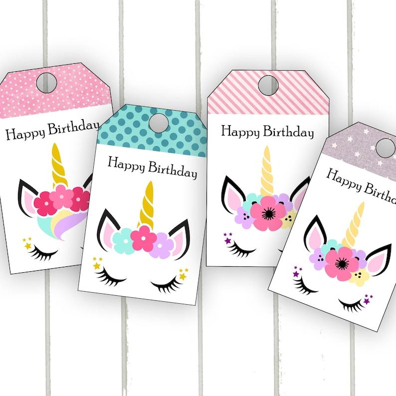 Unicorn Birthday Gift Tag Printable Card