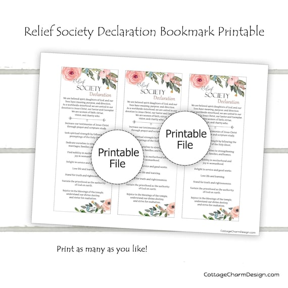 Relief Society Bookmark printables-**UPDATED**-DIY-Instant Download-Relief Society Declaration-LDS