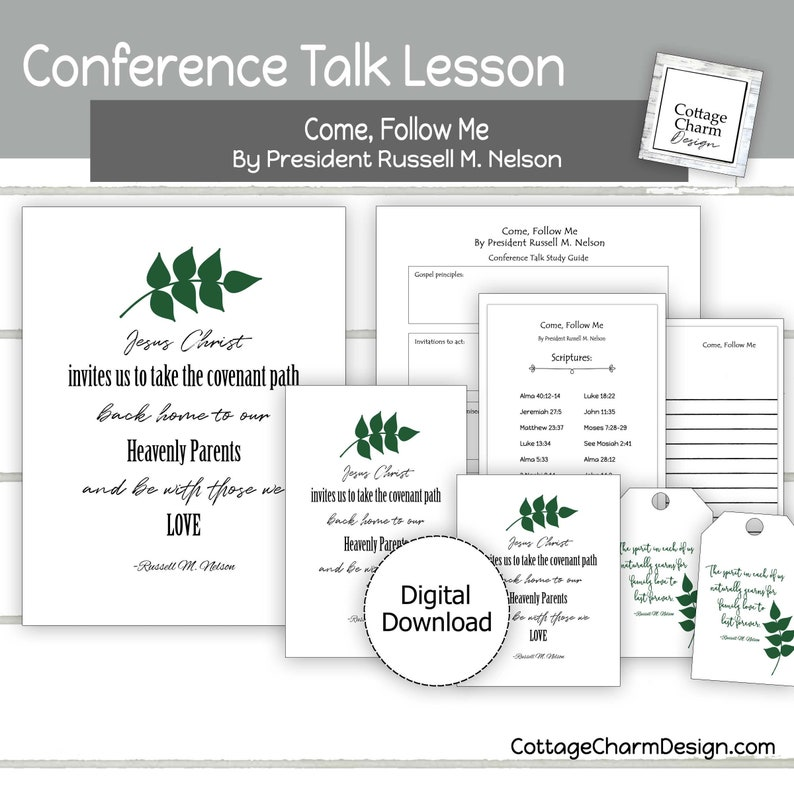 Come Follow Me by By Russell M  Nelson, 2019 Conference Printable Lesson