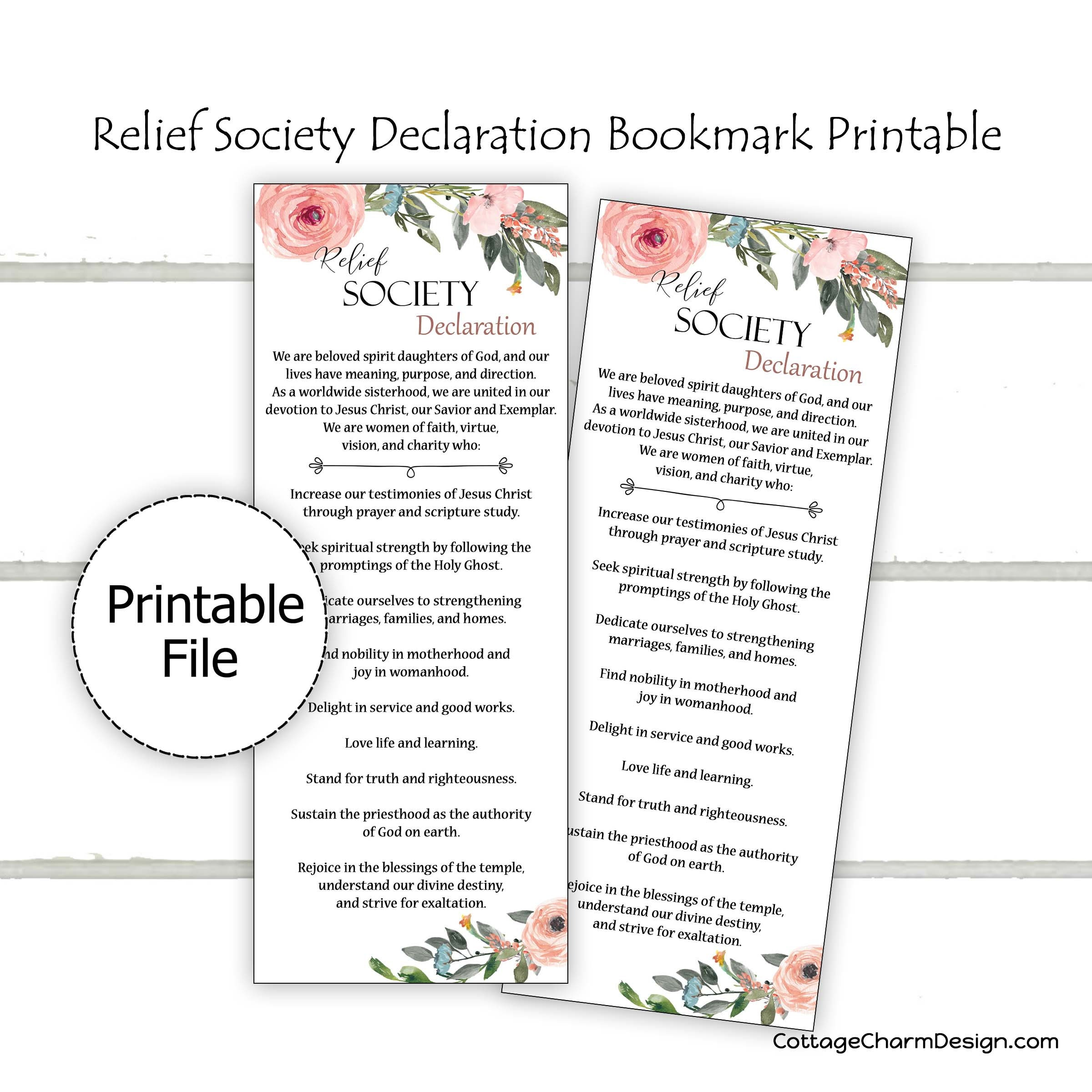 picture regarding Relief Society Declaration Printable called Reduction Tradition Declaration Bookmark Printable, Church of Jesus Christ