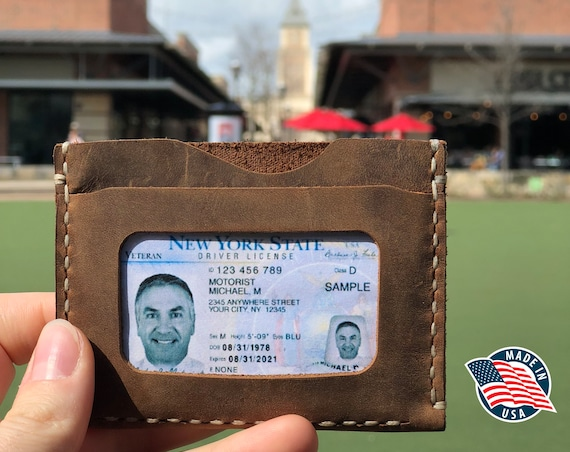 Handmade Leather ID Wallet, front pocket wallet, Personalized wallet, Man Leather Wallet, Leather Card Wallet, Cinnamon ID: TEXAS004