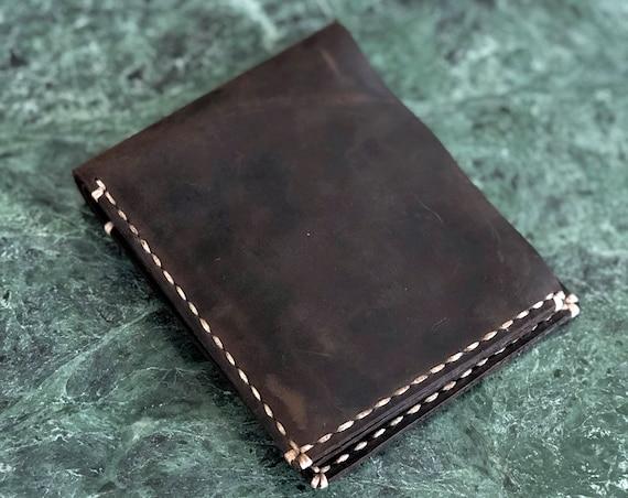 Leather Billfold wallet, personalized Bifold wallet, Minimalist Triple Card Wallet, monogram Leather Men's Wallet  Chestnut #TEXAS008