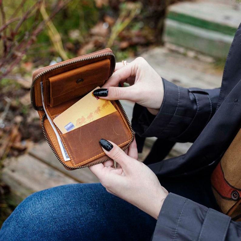 Personalized Zipper Leather Wallet Unisex Wallet Minimalist image 0