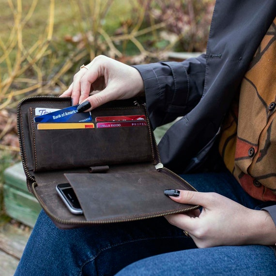 Leather wallet, women's Wallet organizer, Women's wallet, Long wallet, Leather wallet, Zipper Wallet