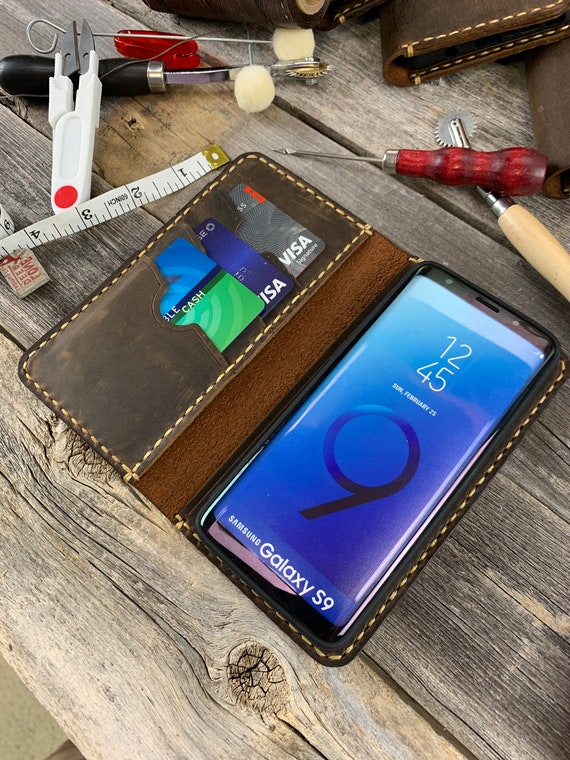 Samsung Galaxy S9 Leather Wallet Case, Galaxy S9 Leather Case, Samsung S9 Case, Leather Case for Galaxy S9  - IDTEXAS- 0S9