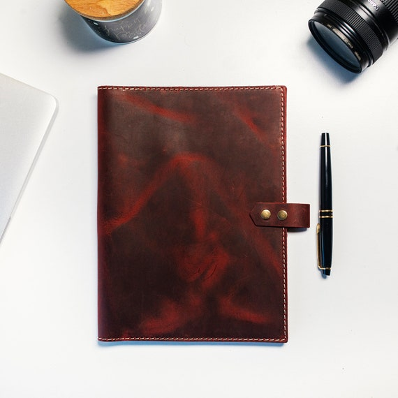 Personalized Leather Notebook Cover, Cover with Pen Loop, Large Moleskine Case, Journal Cover