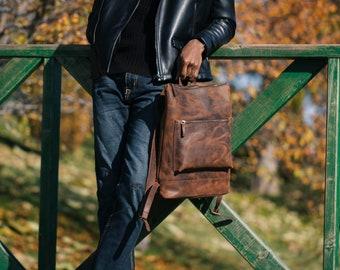 Leather Slim Backpack, Travel backpack, Hipster backpack Laptop Backpack, Travel Rucksack, Computer Bag