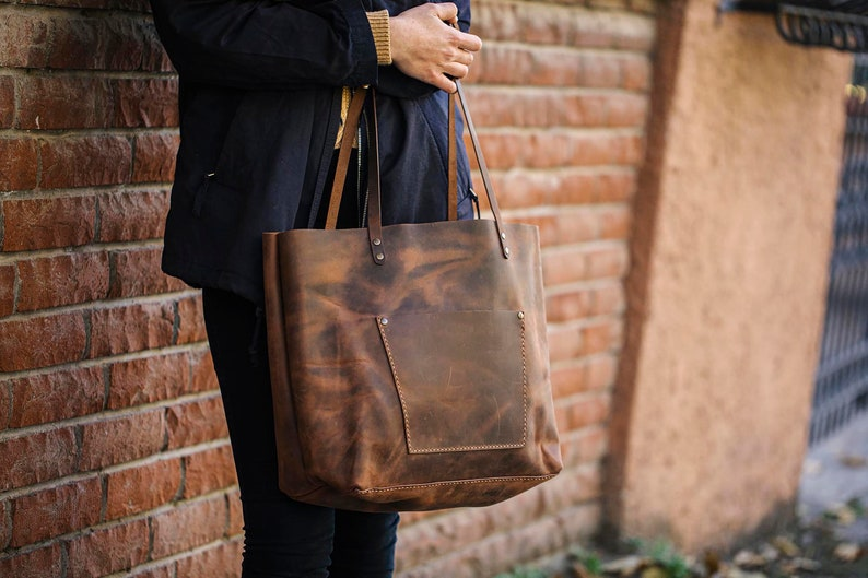 Leather Tote Bag Handmade Leather Purse Large Leather Handbag image 0