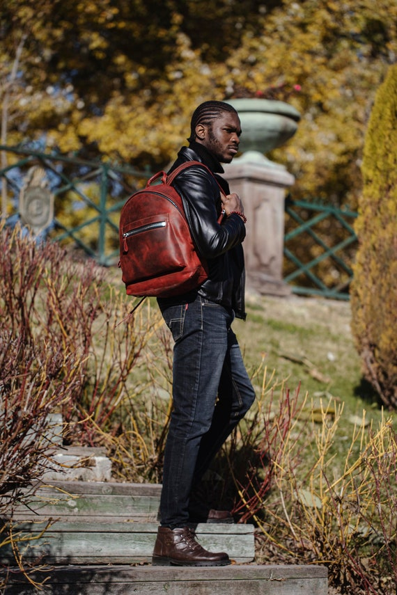 Leather Backpack | Casual Backpack Laptop | Leather Rucksack | Everyday Backpack