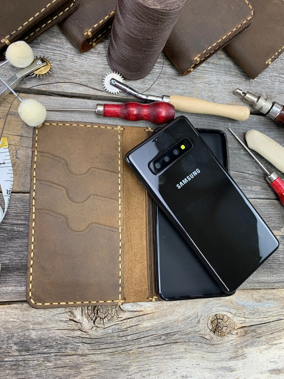 Handmade Samsung Galaxy S10 Leather Wallet Case s10 case s10e leather case leather s9 plus s9+ s9 case - IDTEXAS- 0S10
