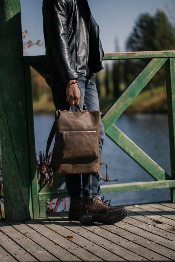 Leather Slim Backpack, Book bag, Travel Bag, Vintage Backpack, Slim Backpack, Minimalist Rucksack