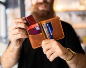 Minimalist Leather Wallet, Bifold Wallet, Distressed Leather Slim Bifold Wallet, Personalized Leather Wallet,Leather Cardholder ID TEXAS007