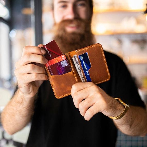 Minimalist Leather Wallet, Bifold Wallet, Distressed Leather Slim Bifold Wallet, Personalized Leather Wallet,Leather Cardholder ID: TEXAS007