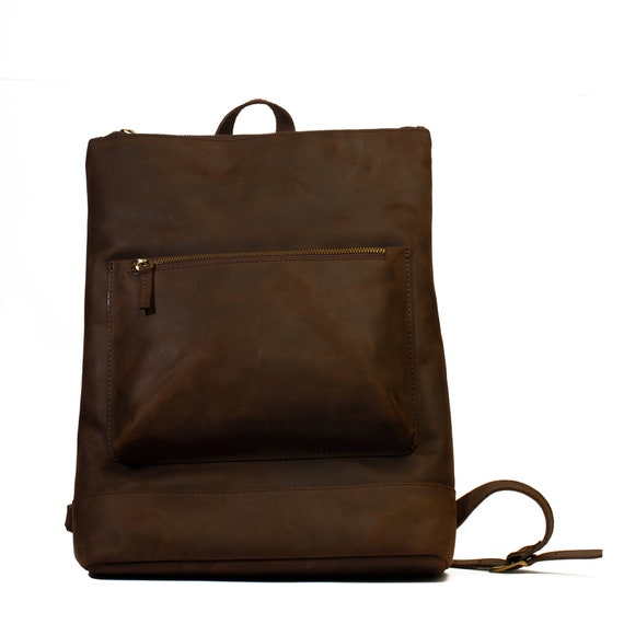 Leather Slim Backpack, Book bag, Travel Bag, Vintage Backpack, Slim Backpack, Minimalist Rucksack