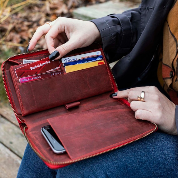 Leather Zipper Wallet, Leather Wallet, Women's Wallet Organizer, Long Leather Wallet, Zipper Wallet, Womens Gift, Christmas Gift Woman