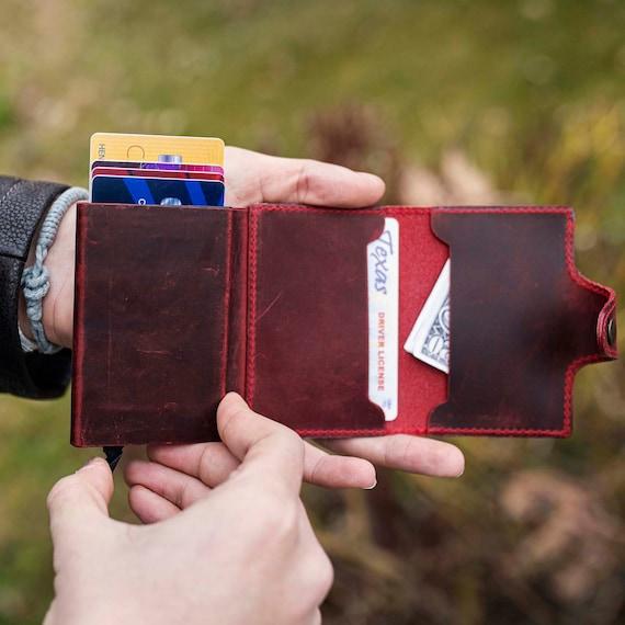 Christmas gift Handmade cardholder, leather cardholder, slim money holder | Initial wallet | 3rd anniversary gift