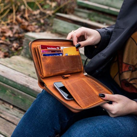 Personalized Zipper Leather Wallet, Unisex Wallet, Minimalist Leather Wallet, Zipper Wallet,Wallet, Leather Zipper Wallet,Credit Card Wallet