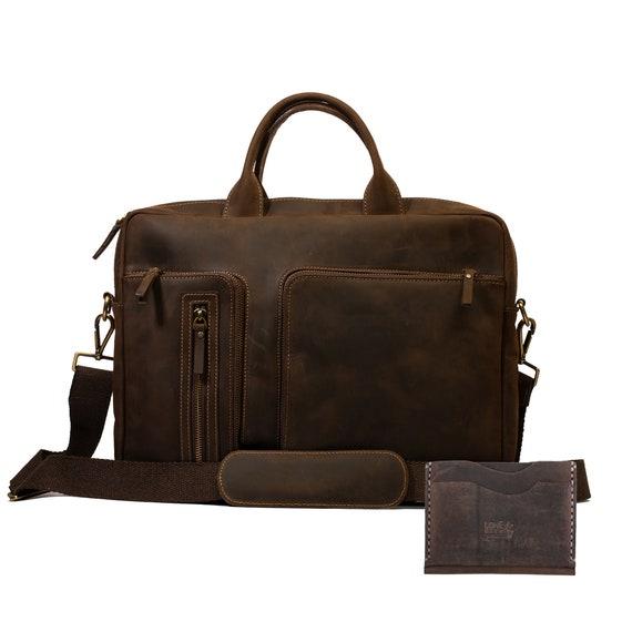 Lone Deer Leather Briefcase + Cardholder