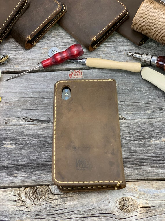 iPhone 8 Case, iPhone 8 Leather Wallet Case, HANDMADE Leather Cover Case - TEXAS009