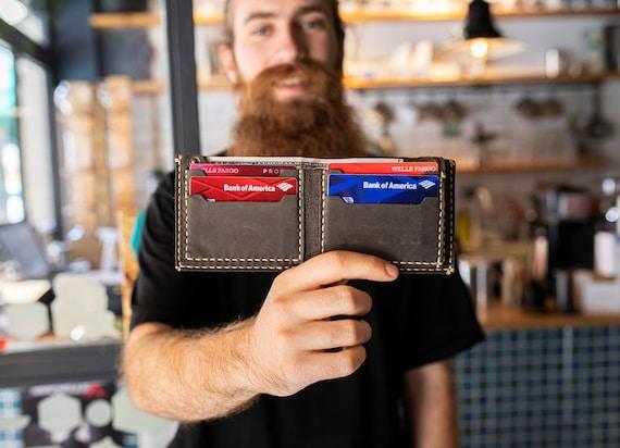 Billfold leather wallet personalized wallet Minimalist Card Wallet Top Grain Distressed Leather Men's Wallet  Bifold wallet  #TEXAS0012
