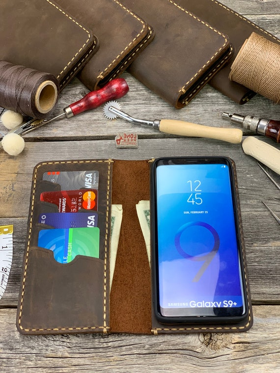 Samsung Galaxy S9 Plus Leather Wallet Case, Galaxy S9 Plus Leather Case, Samsung S9 Plus Case, Leather Case - IDTEXAS- 0S9 Plus