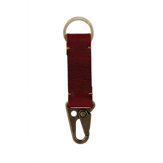Monogram Hand Stamped Keychain; Unique Handstitched Key Chain Gift for Him and Her