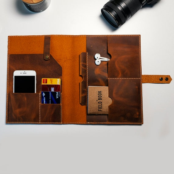 Personalized Leather Snap Lock Journal Case, Luxury Leather Notebook Case