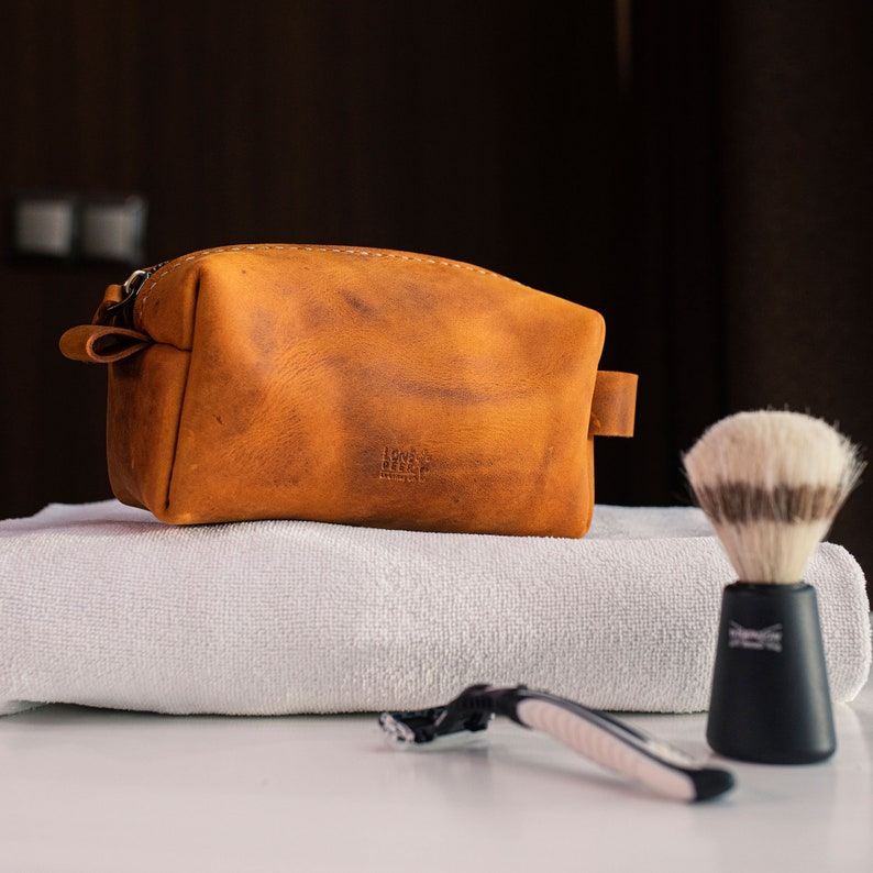 Valentines Day Gift for Him Personalized Leather Dopp Kit image 0