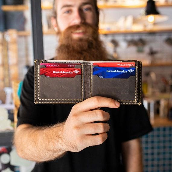 Billfold wallet, personalized wallet, Minimalist Card Wallet, Top Grain Distressed Leather Men's Wallet,  Bifold wallet  #TEXAS008